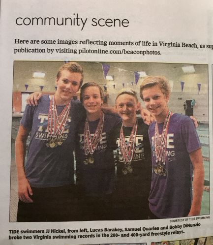 Picture of 11/12 boys relay team as featured in the Virginia Beach Beacon
